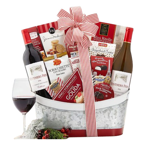 Trim the Holiday Party Wine Gift Basket