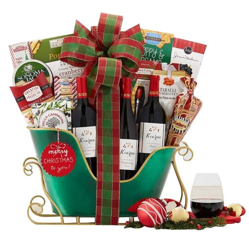 Trademark Kiarna Wine N Assortments Gift Sleigh
