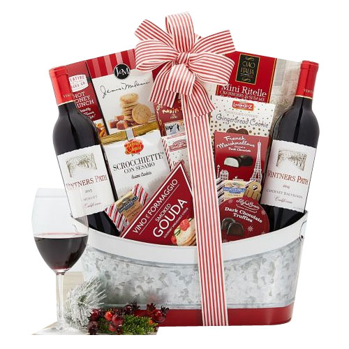 Christmas Holiday Gift Basket of Wine N Assortments