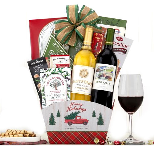 Alluring Christmas Surprise Gift Basket with Wine N Cheese