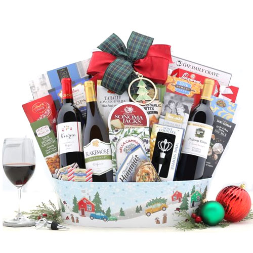 Festive Time Red N White Wine Selection Gift Basket