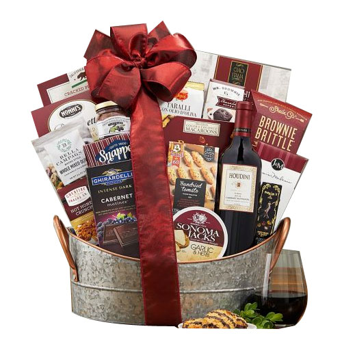 Classy Basket of Treats with Wines from Napa Valley