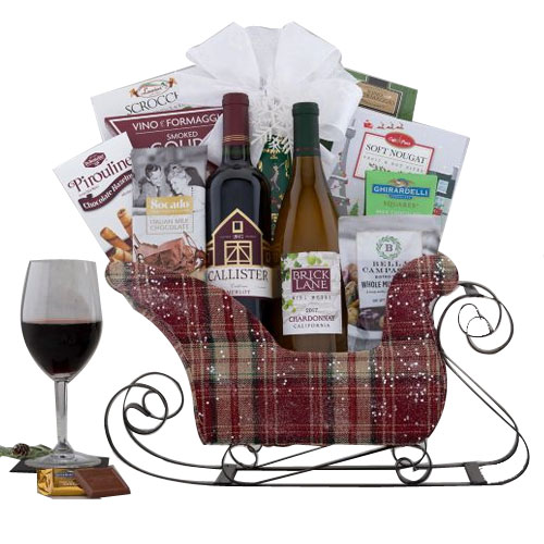 Holiday Favorite Red and White Wine Gift Sleigh