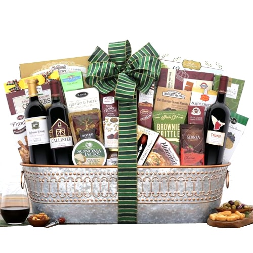 Christmas Special Gift Basket with Red Wine