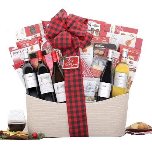 Holiday Retreats Red and White Wine Gift Basket