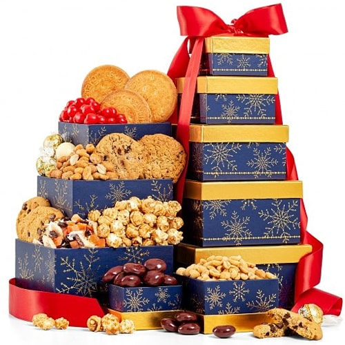 Sweet Christmas Delights Snowflakes Gift Tower