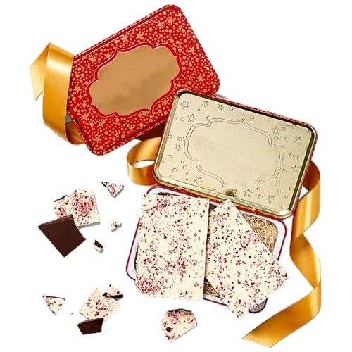 Appealing Tin Box of Chocolate Peppermint Bark