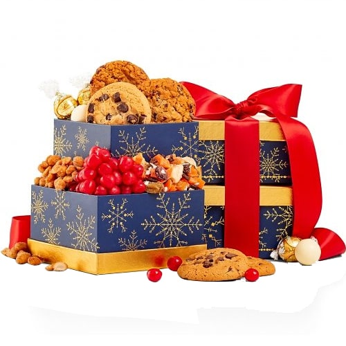 Enticing Cookie N Chocolate Holiday Gift Tower