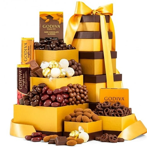Exciting Holiday Treat Tower of Godiva Chocolates