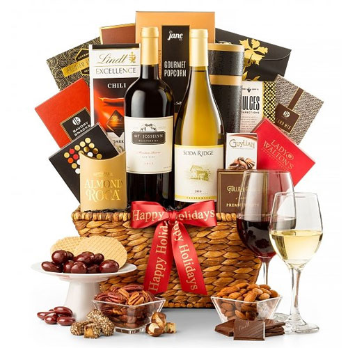 Festive Basket of California Wine Country