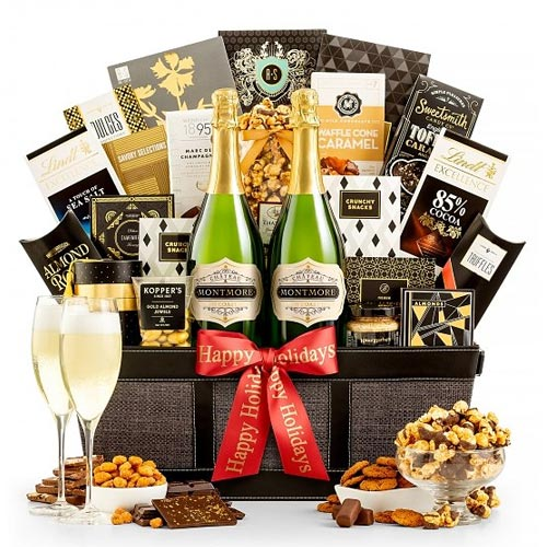 California Sparkling Wine and Gourmet Chocolate Gift Basket