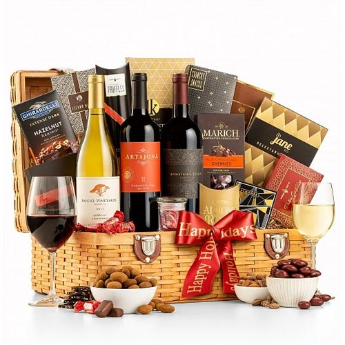 Set a Festive Tone Wine Gift Basket