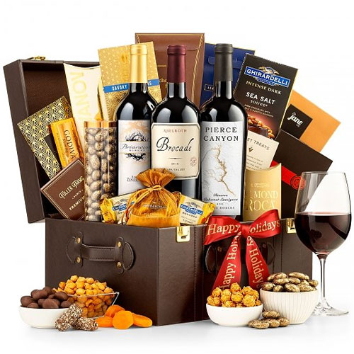 Enticing Gourmet N Wine Trio Gift Basket<br>