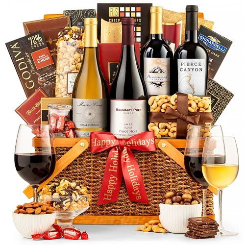 Glorious Happy Holiday Gourmet n Wine Gift Basket<br>
