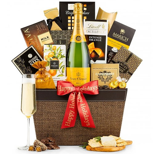 Wholesome Gourmet Assortments Basket with Yellow Label Champagne Bottle<br>