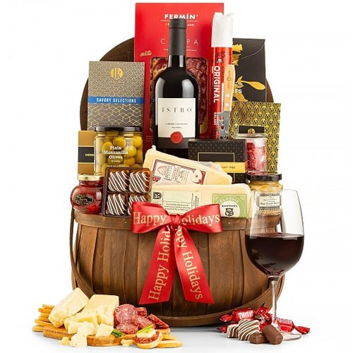 Cheesy Delight Charcuterie N Wine Basket<br>