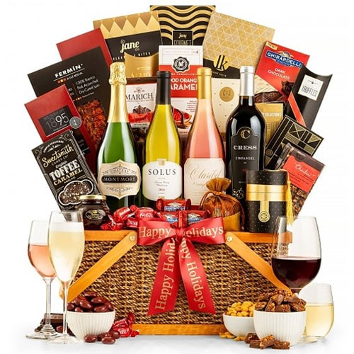 Saturated Wine Gift Basket with Gourmet Delights