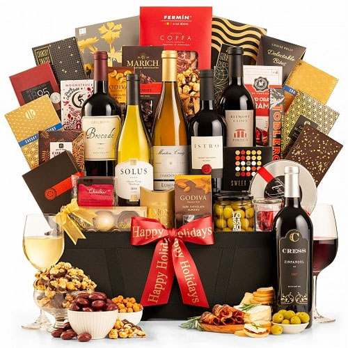 Appealing Red Carpet Wine Hamper Basket