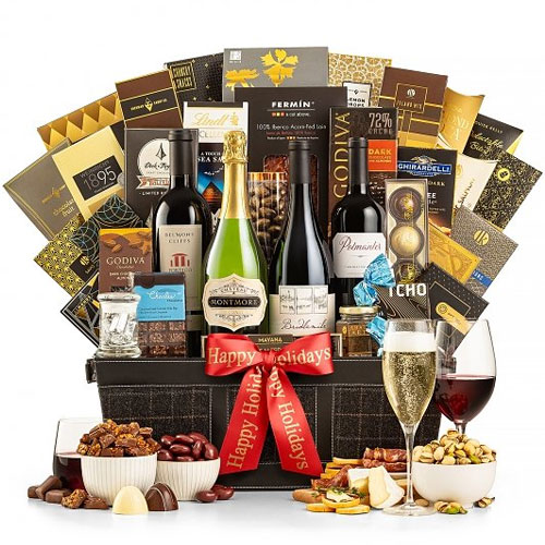 Classic Holiday Collection Wine N Gourmet Basket