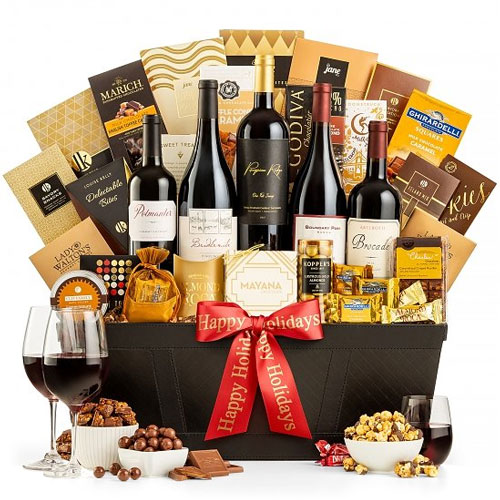 Exemplary Red Wine and Chocolate Lovers Gift Basket