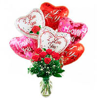 Valentine's Day Gift with Perfect Dozen of Roses and Mylar Balloons