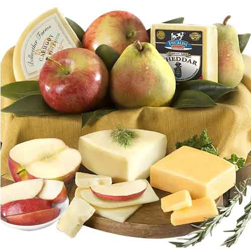 Delectable X-mas Hamper of Fresh Fruits N Cheese