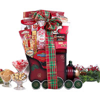 Breathtaking Chocolate Holiday Train Gift Basket<br>