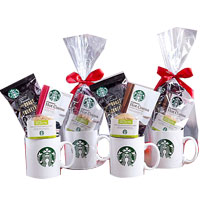 Charming Starbucks Coffee,Cocoa and Cookie Gift Mugs Gift Basket<br>