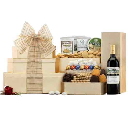 Alluring Food and Sparkling Wine Gift Tower of Treat