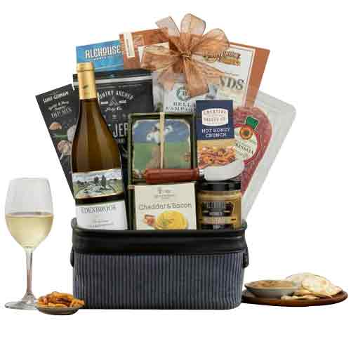 Beautiful Seasons Greeting Gift Basket with Wine