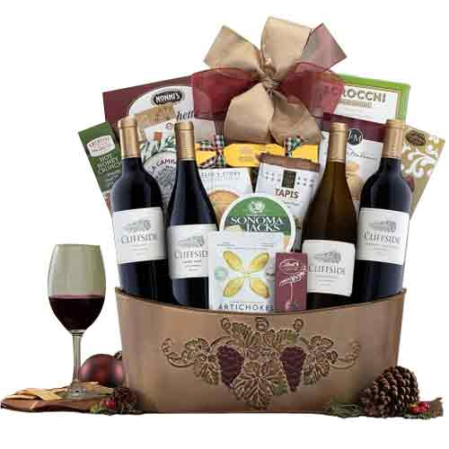 Luscious Food N Wine Gift Hamper for Christmas