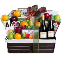 Exciting Grand Signature Wine N Fruit Gift Basket<br>