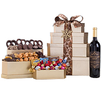 Deluxe Chocolate Wine Gift Tower featuring Godiva Gift Basket.