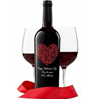Red Romance Engraved Valentines Wine
