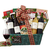 Entertaining Holiday Bounty Gift Basket with Wine Gift