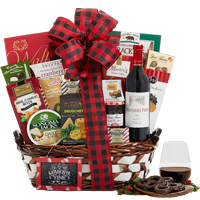 Ideal Unique Treasures Gift Basket with Wine