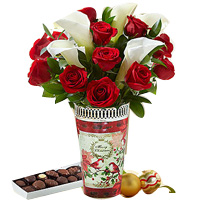 Holiday Red Rose and Calla Lily Bouquet