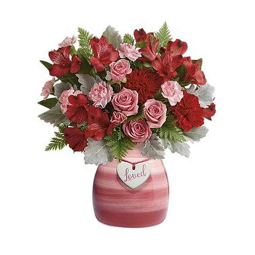 Dazzling Arrangement of Pink N Red Flowers