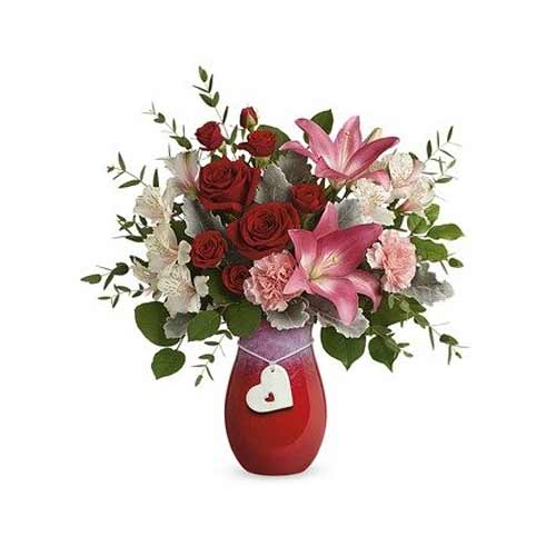 Classical Roses N Lilies Bouquet in Stoneware Vase