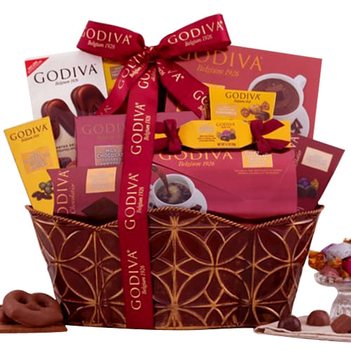 Sumptuous Treat of Godiva Chocolate in a Basket
