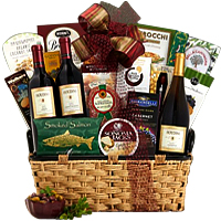 Timeless Favorite Christmas Goodies N Wine Hamper
