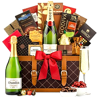 Festive Greeting Champagne Hamper with Chocolates