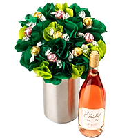 Amazing Bouquet Yummy Chocolates with Vintage Rose Wine