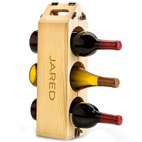 Wishful Cheers Personalized Wooden Wine Rack