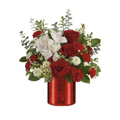 Artistic Red N White Floral Blooms for Valentines Day