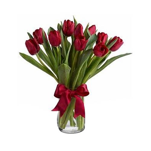 Enchanting Red Tulips Bouquet for Valentines Day