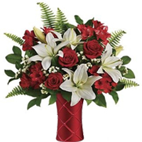 Delightful Red Roses with White Lilies for V-Day