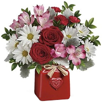 Alluring Ceramic Crook arranged with Mesmerizing Red Roses N White Lilies<br>