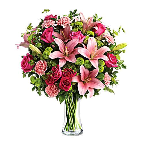 V-Day Special Red Roses N White Lilies display in a Glass Vase