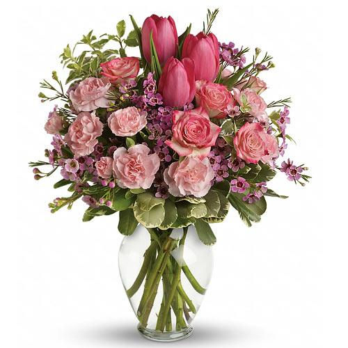 Appealing Pink Roses, Tulips n Carnation display in an Elegant Vase<br>